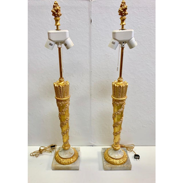 1950s Vintage French Empire Gold Dore Marble Table Lamps- a Pair For Sale - Image 10 of 11