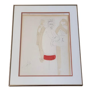 Vintage 1970s Modern Mixed Media Painting Signed Singleton Bar For Sale