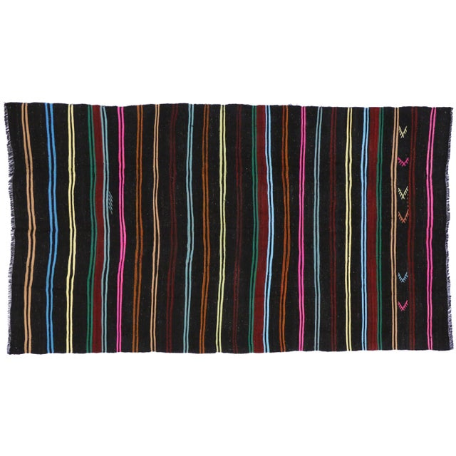 Boho Chic Vintage Turkish Kilim With Stripes and Modern Tribal Style, 7'2 X 12'5 For Sale