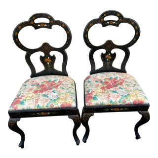 Vintage Black Lacquer Chinoiserie Chairs - a Pair For Sale