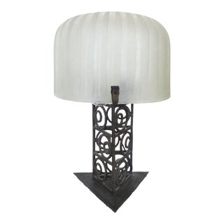 1930's French Art Deco Iron & Glass Table Lamp For Sale