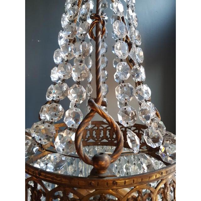 Basket Chandelier Brass Empire Crystal Lustre Ceiling Lamp Antique Art Nouveau For Sale - Image 6 of 12