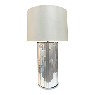 Large Chrome and Panelled Mirror Table Lamp For Sale
