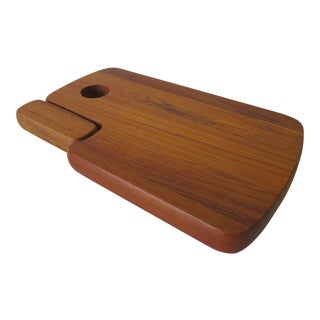 Vintage Solid Teak Cutting Board with Knife