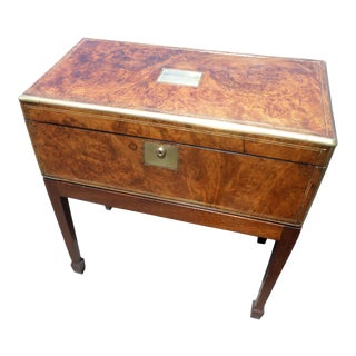 English Burled Walnut Lap Desk on Stand For Sale