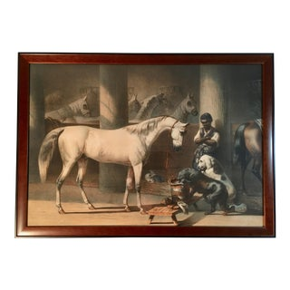 Antique Framed French Equestrian Print