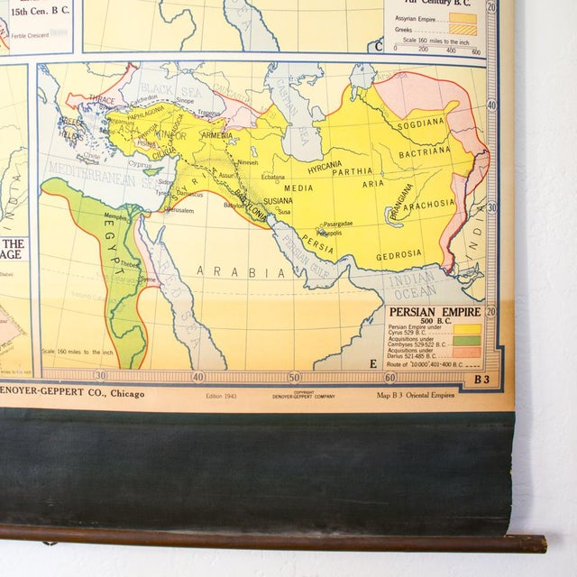 Metal Vintage Pull Down Map of Oriental Empires | 1940s Industrial For Sale - Image 7 of 8
