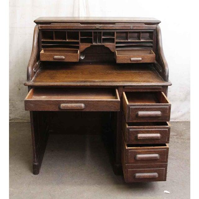 Oak Roll Top Desk with Original Finish - Image 4 of 7