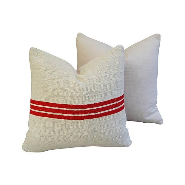 Triple Red Stripe French Textile Pillows - A Pair - Image 5 of 7