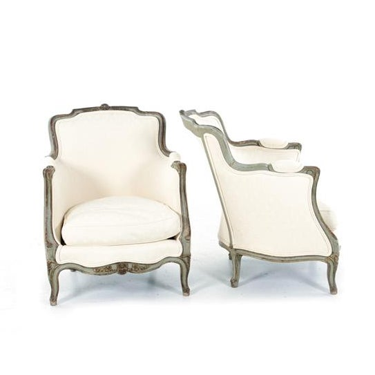 Louis XVI Style Bergere Chairs - A Pair - Image 2 of 6