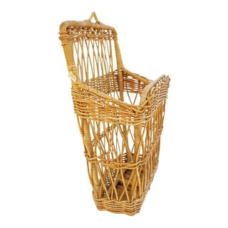 Vintage Natural Woven Rattan Wicker Wall Magazine Rack