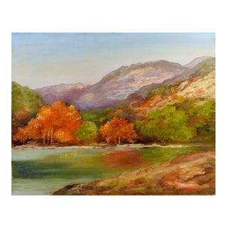 Riverside Landscape Oil Painting on Canvas