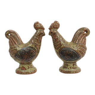 Mid-Century Rooster Stoneware Shakers - A Pair