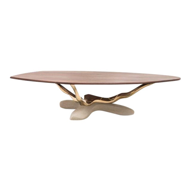 Markus Haase, Bronze, Walnut, and Limestone Dining Table, Usa, 2018 For Sale