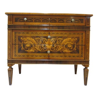 1980s Neoclassical Fruitwood Commode For Sale