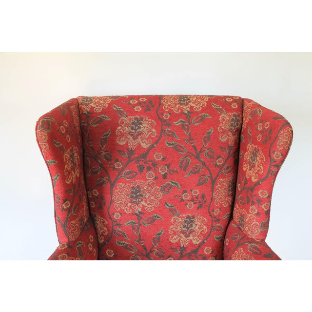 Upholstered Wingback Chair For Sale - Image 9 of 11