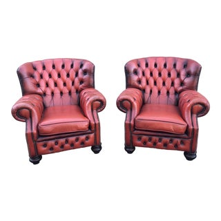 1960s Vintage Red Leather Chesterfield Lounge Chairs- a Pair For Sale