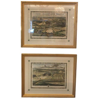 18th Century Antique Johannes Kip Views of the Queens Palaces Hand-Colored Engravings - A Pair For Sale