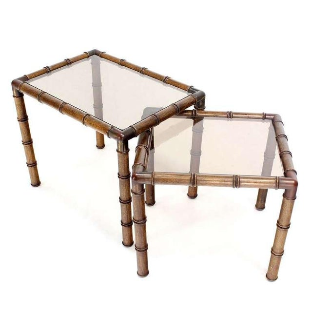 Wood Mid Century Modern Faux Bamboo Nesting Stacking End Tables- a Pair For Sale - Image 7 of 10