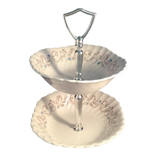 Ironstone Encore 2 Tier Cake Stand For Sale
