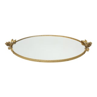 Vintage Brass filigree Vanity Tray Mirror With Flowers