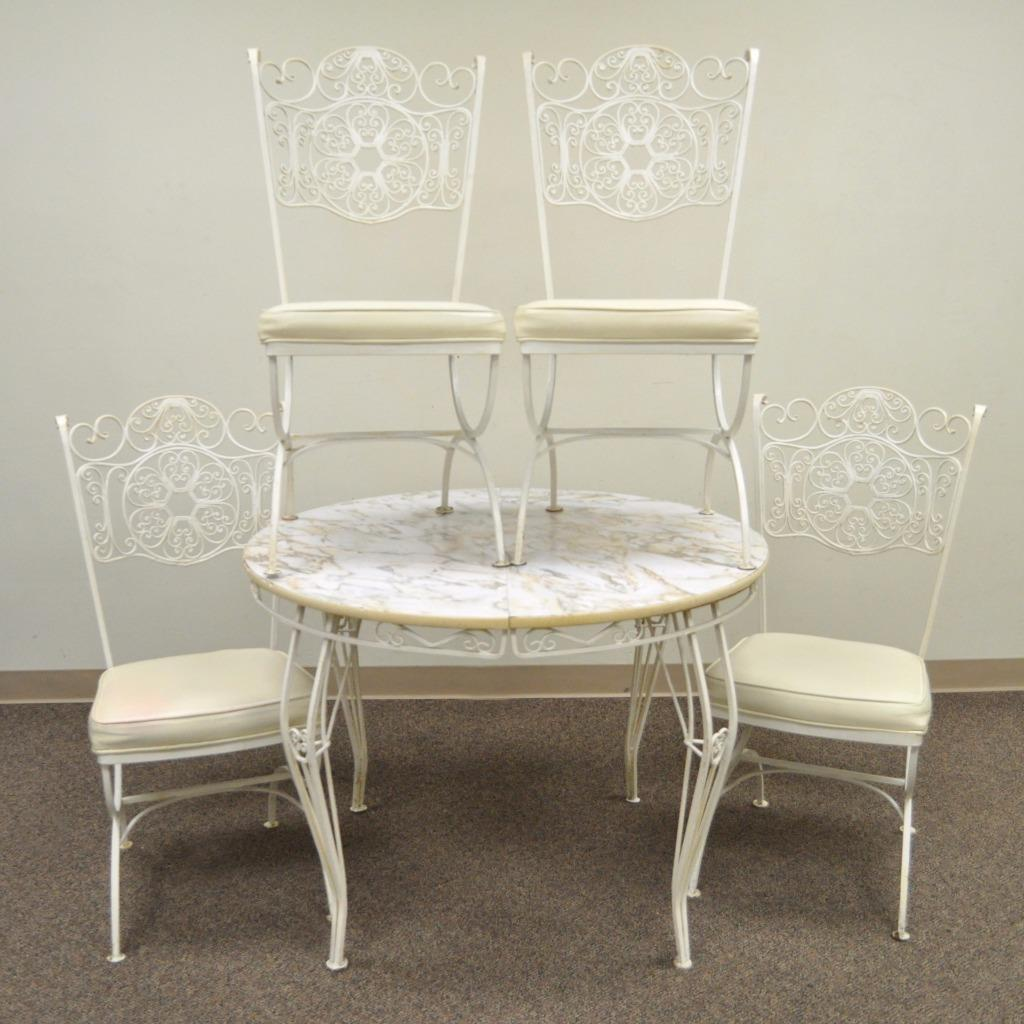 Wrought Iron Dining Room Table: Vintage Wrought Iron Woodard Andalusian Patio Sunroom Dining Set Table 4 Chairs