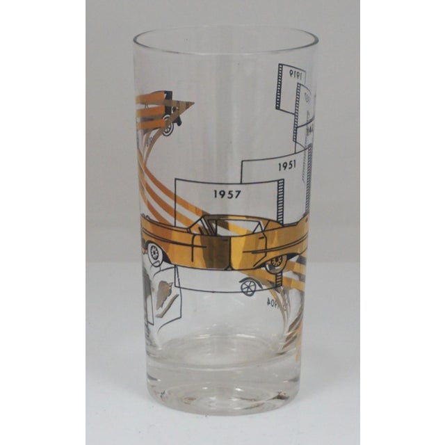 Vintage Cadillac Cocktail Glasses. 6 Glasses. There are vintage Cadillacs. The dates on the glasses are 1904, 1918, 1919,...