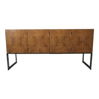 Mid Century Maple Burl and Chrome Credenza by Milo Baughman For Sale
