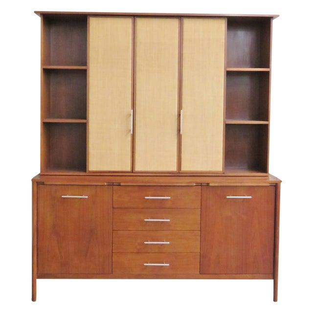 John Stuart Modern Teak & Burlap Breakfront Cabinet - Image 1 of 9