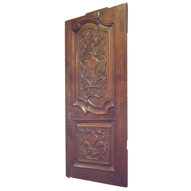 18th C. French Provincial Wood Carved Door Panel For Sale