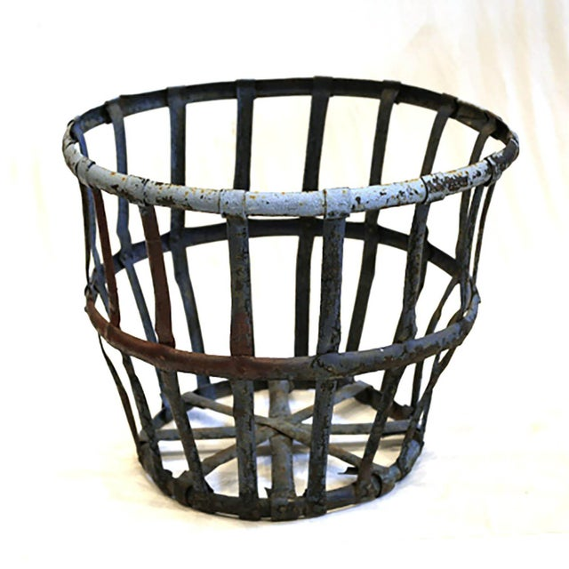 Late 19th/Early 20th C. Distressed Industrial Iron Basket C. 1880-1920s For Sale In San Francisco - Image 6 of 6