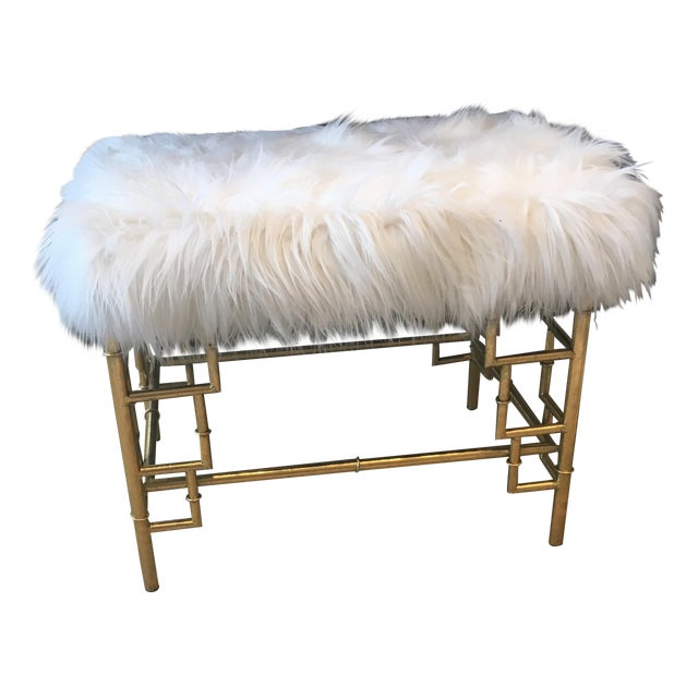 Faux Fur Brass Bench For Sale
