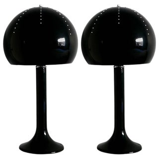 Black Mushroom Table Lamps by Fabio Ltd - a Pair For Sale