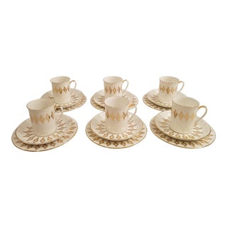 Vintage Windsor Bone China Demitasse Coffee Set, England - 18 Pc. Set For Sale