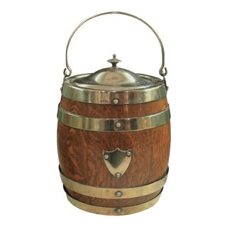 Antique English Silverplate Epns Porcelain Oak Biscuit Barrel Tobacco Jar For Sale