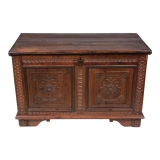 Ornately Carved Mid 19th-C. Scandinavian Trunk For Sale