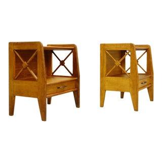 Pair of Oak Bedside Tables - Atelier Saint Sabin 1951 Reconstruction For Sale
