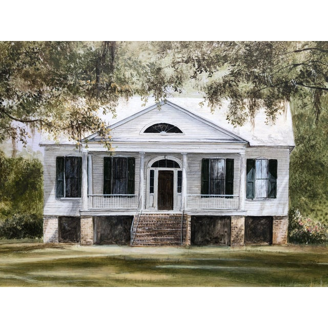 American Douglas Grier Southern American Architectural Landscape Painting, Framed For Sale - Image 3 of 12