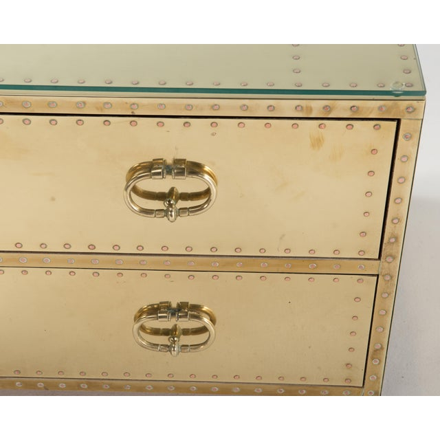 1970s Spanish Sarreid Brass Clad Two-Drawer Chest For Sale - Image 9 of 13