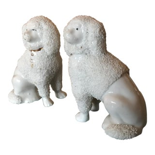 Antique English Staffordshire Poodles - A Pair