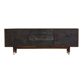 "Modern Wabi Credenza in Walnut, Alabaster & Patinated Brass by Ordinal Indicator - 60"" Long For Sale"