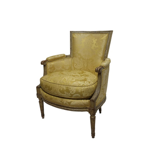 Yellow Louis XVI Style Bergere Chair, French, Late 19th-Early 20th Century For Sale - Image 8 of 8
