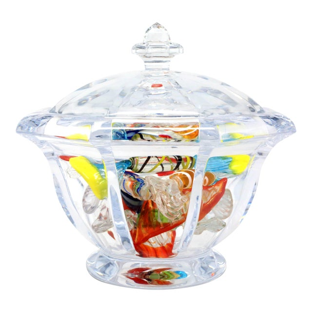 An octagonal lucite bowl filled with nine pieces of handmade glass candy. Bowl is in excellent Condition. One of the...