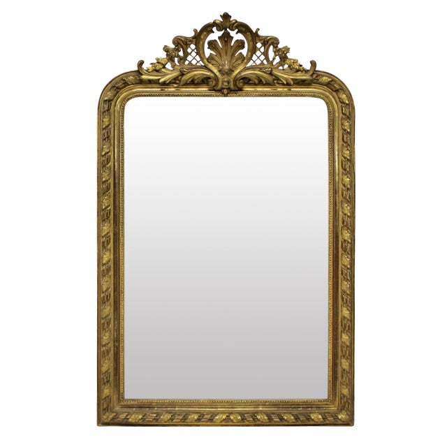 A Fine French Water Gilded Overmantle Mirror For Sale