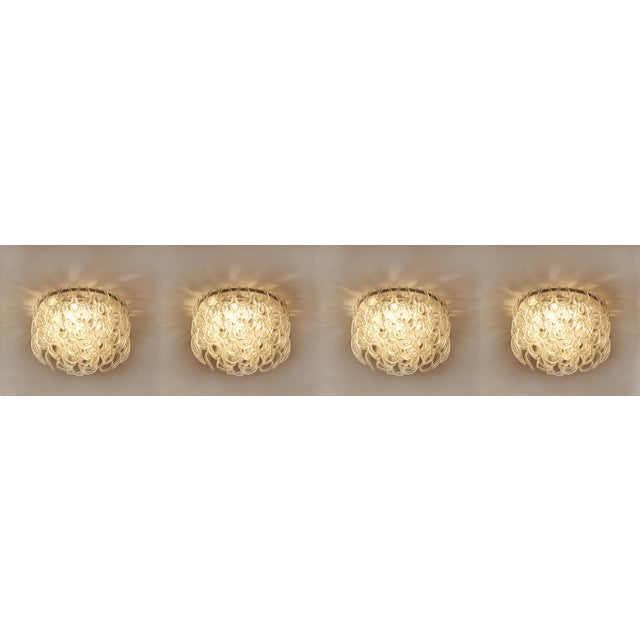 Late 20th Century Set of Four Modern Italian Crystal Ceiling Lights For Sale - Image 5 of 5