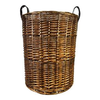Vintage Large Woven Wicker Double Handle Hamper Basket For Sale