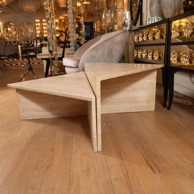Belgian Triangular Modular Travertine Coffee Table - 2 Pieces For Sale - Image 3 of 5
