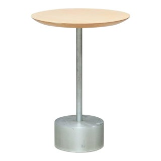 Aluminium and Birch Side Table For Sale