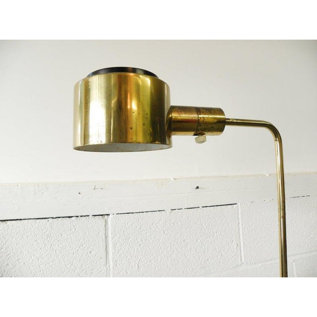 1970s 1970s Vintage Brass Finish Library Pharmacy Floor Reading Lamp For Sale - Image 5 of 6