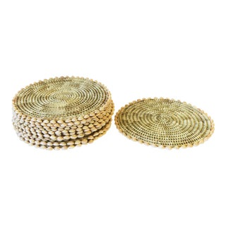 Wicker Rattan and Seashell Plate Chargers - Set of 12 For Sale
